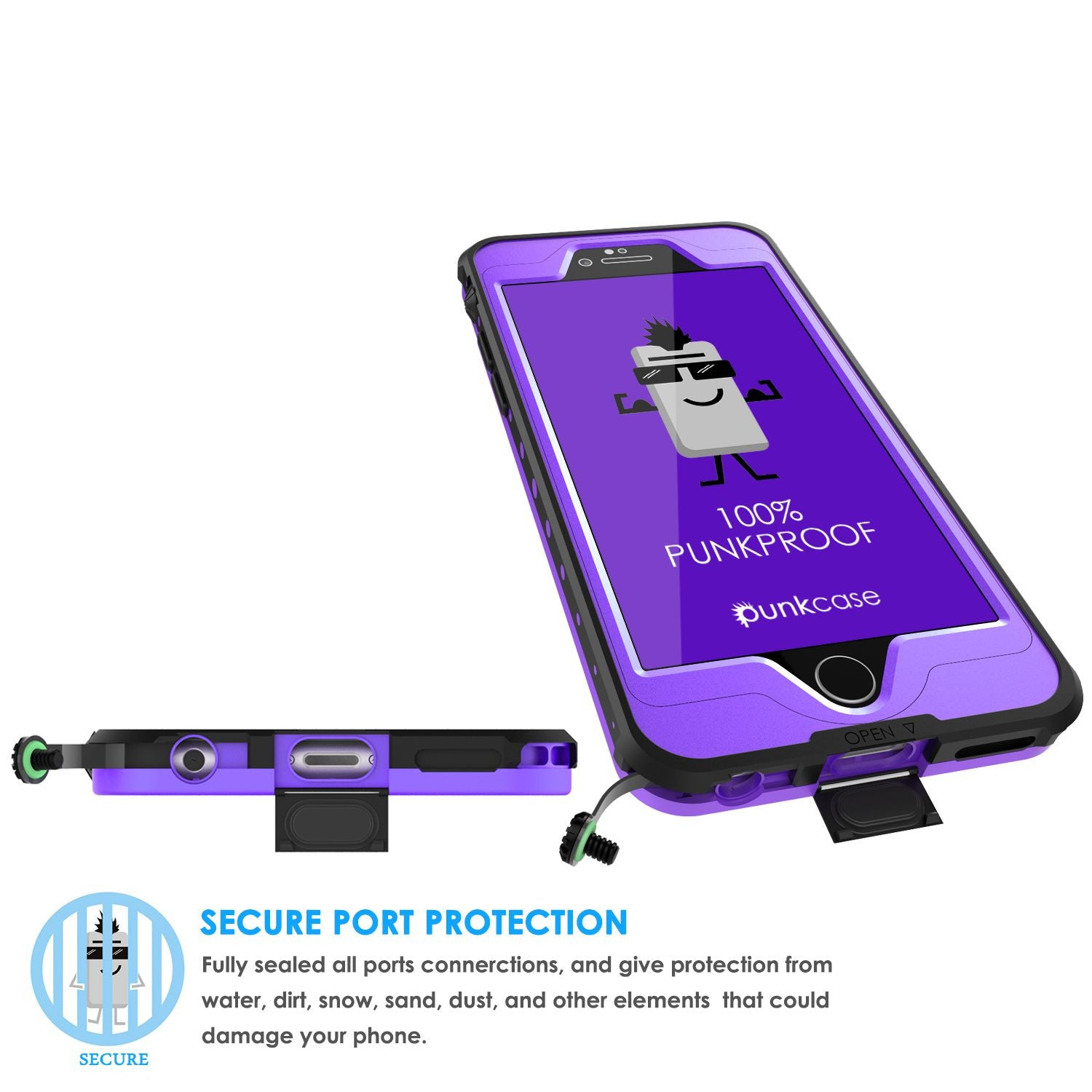 iPhone 6s/6  Waterproof Case, PunkCase StudStar Purple w/ Attached Screen Protector | Warranty