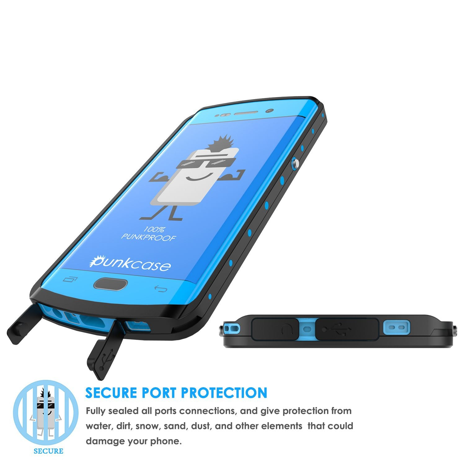 Galaxy s6 EDGE Plus Waterproof Case, Punkcase StudStar Light Blue Series | Lifetime Warranty