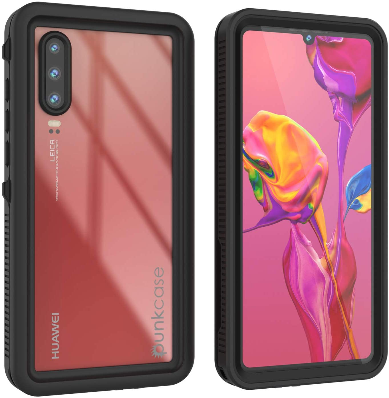 Huawei P30  Waterproof IP68 Case, Punkcase [Black] [StudStar Series] [Slim Fit] [Dirtproof]