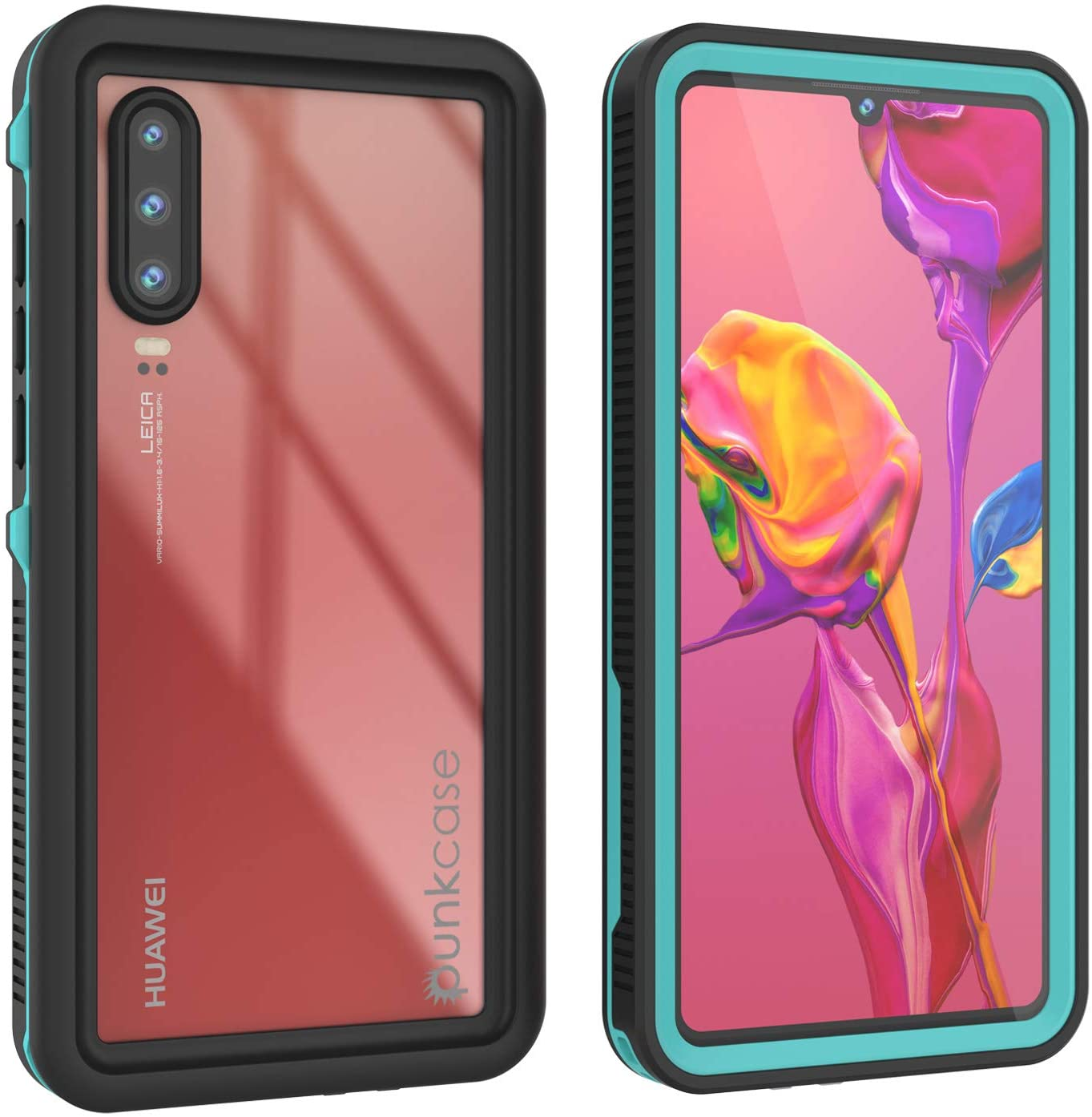 Huawei P30  Waterproof IP68 Case, Punkcase [Teal] [StudStar Series] [Slim Fit] [Dirtproof]