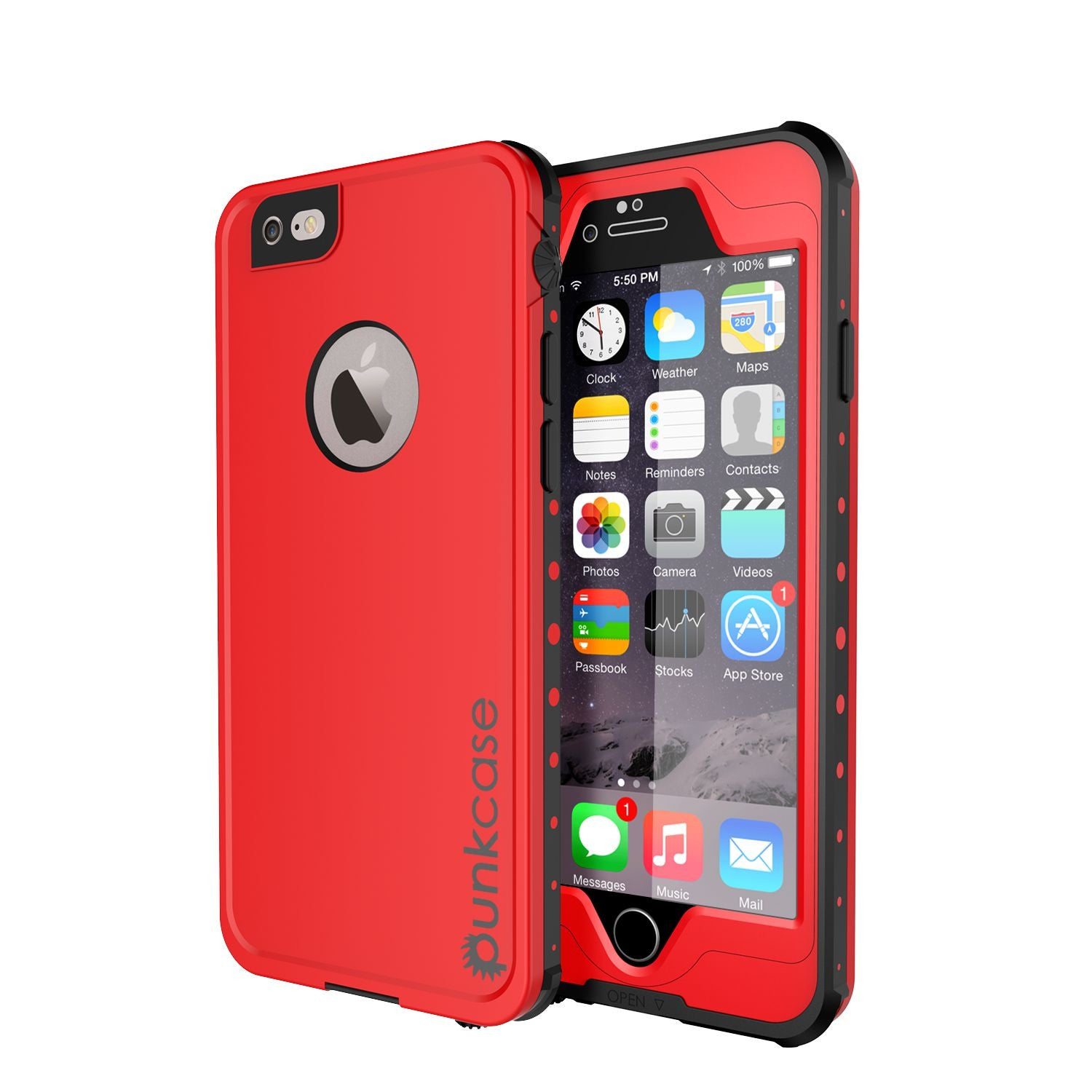 iPhone 6S+/6+ Plus Waterproof Case, PUNKcase StudStar Red w/ Attached Screen Protector | Warranty