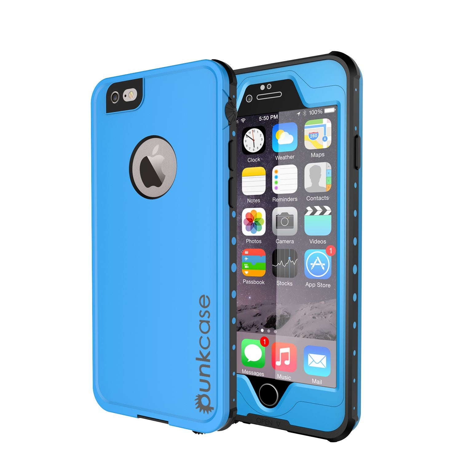 iPhone 6S+/6+ Plus Waterproof Case, PUNKcase StudStar Light Blue w/ Attached Screen Protector