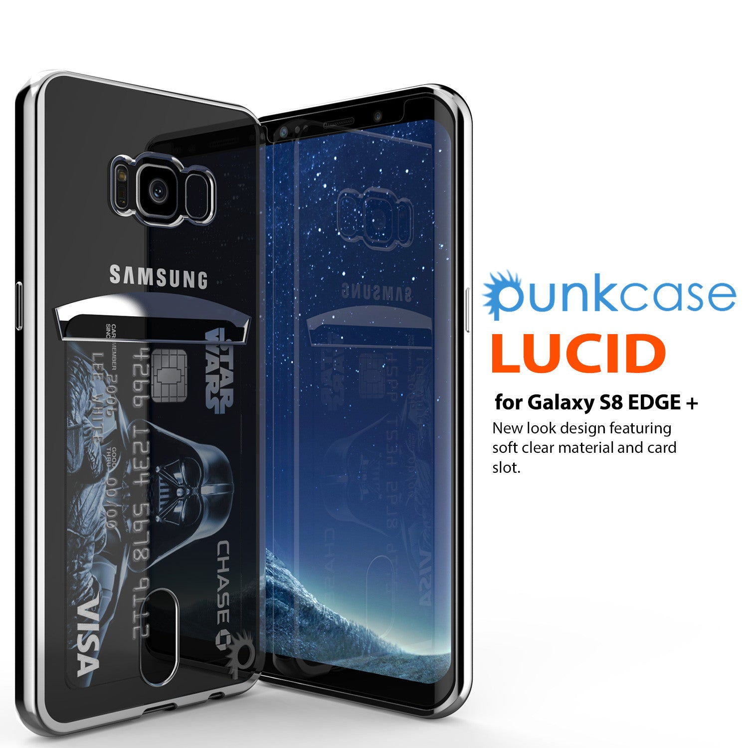 Galaxy S8 Plus Case, PUNKCASE® LUCID Silver Series | Card Slot | SHIELD Screen Protector | Ultra fit