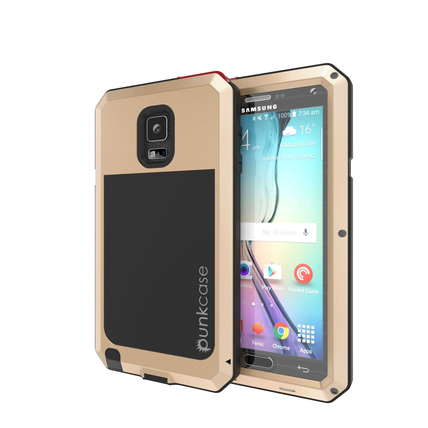 Note 4 Case, Punkcase® METALLIC Series GOLD w/ TEMPERED GLASS | Aluminum Frame