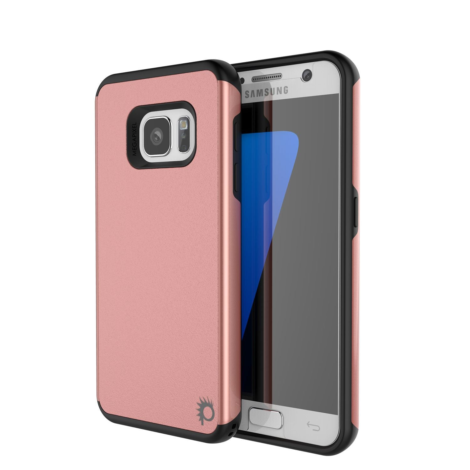 Galaxy s7 Case PunkCase Galactic Rose Gold Series Slim Armor Soft Cover Case w/ Tempered Glass
