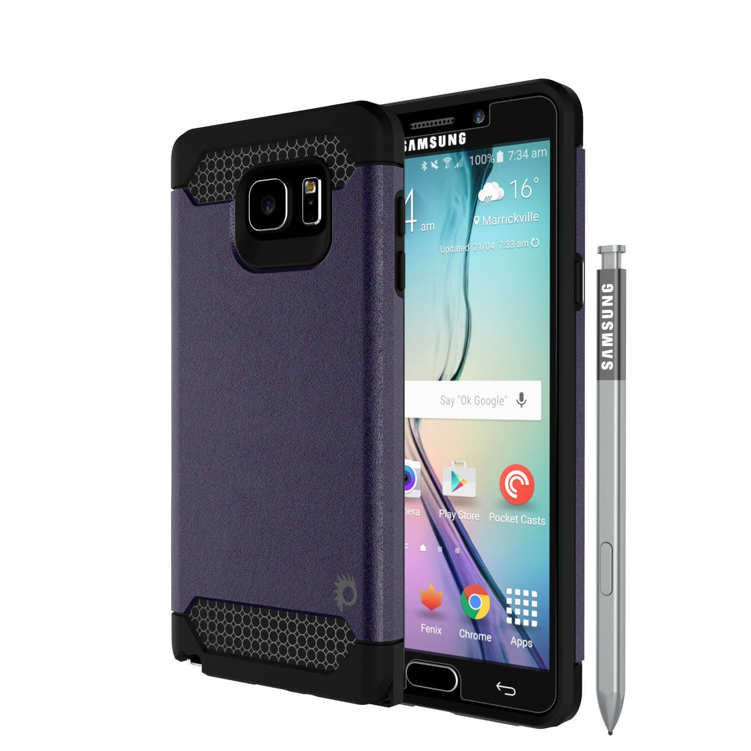 Galaxy Note 5 Case PunkCase Galactic Charcoal Series Slim Armor Soft Cover Case w/ Tempered Glass