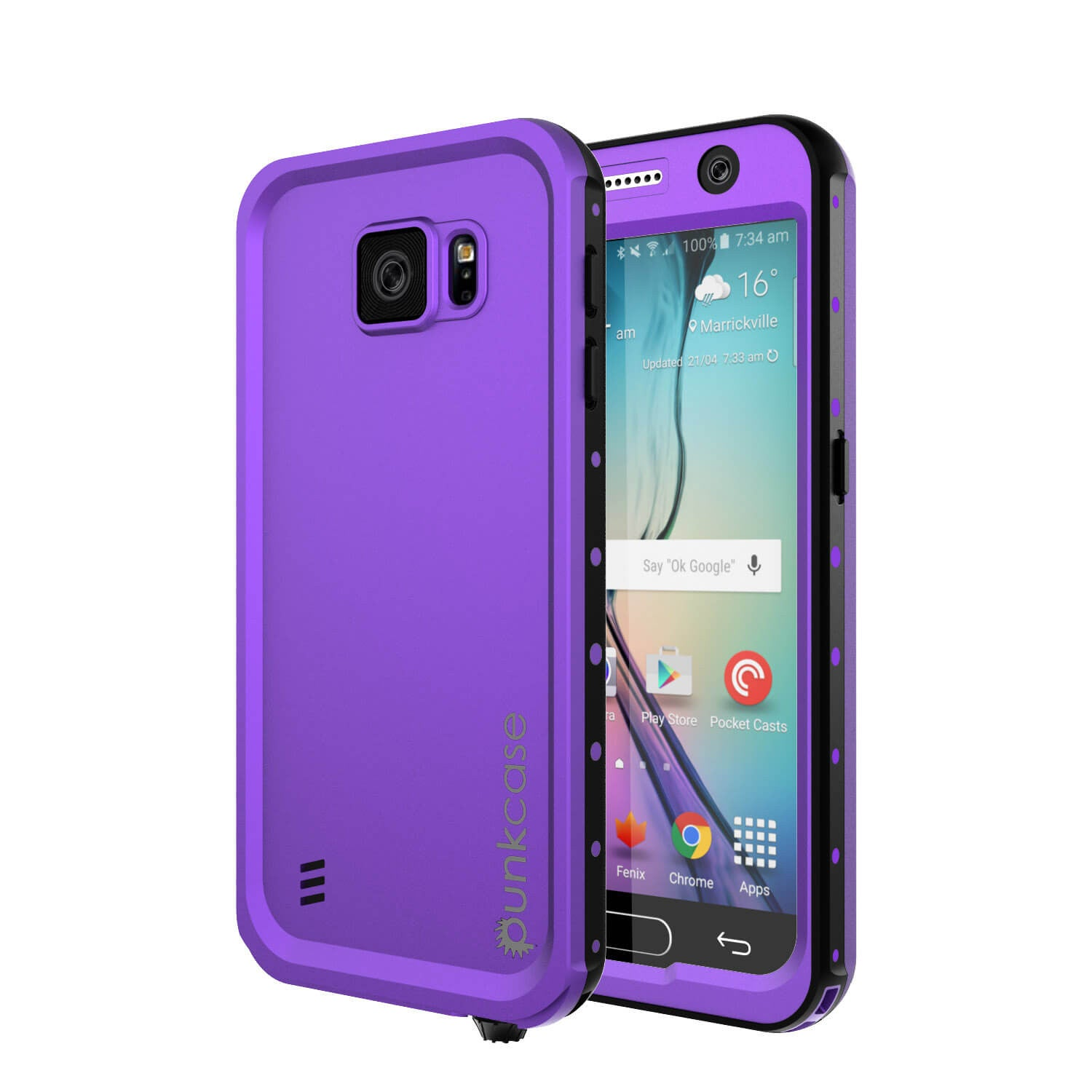 Galaxy S6 Waterproof Case PunkCase StudStar Purple Thin 6.6ft Underwater IP68 Shock/Dirt/Snow Proof