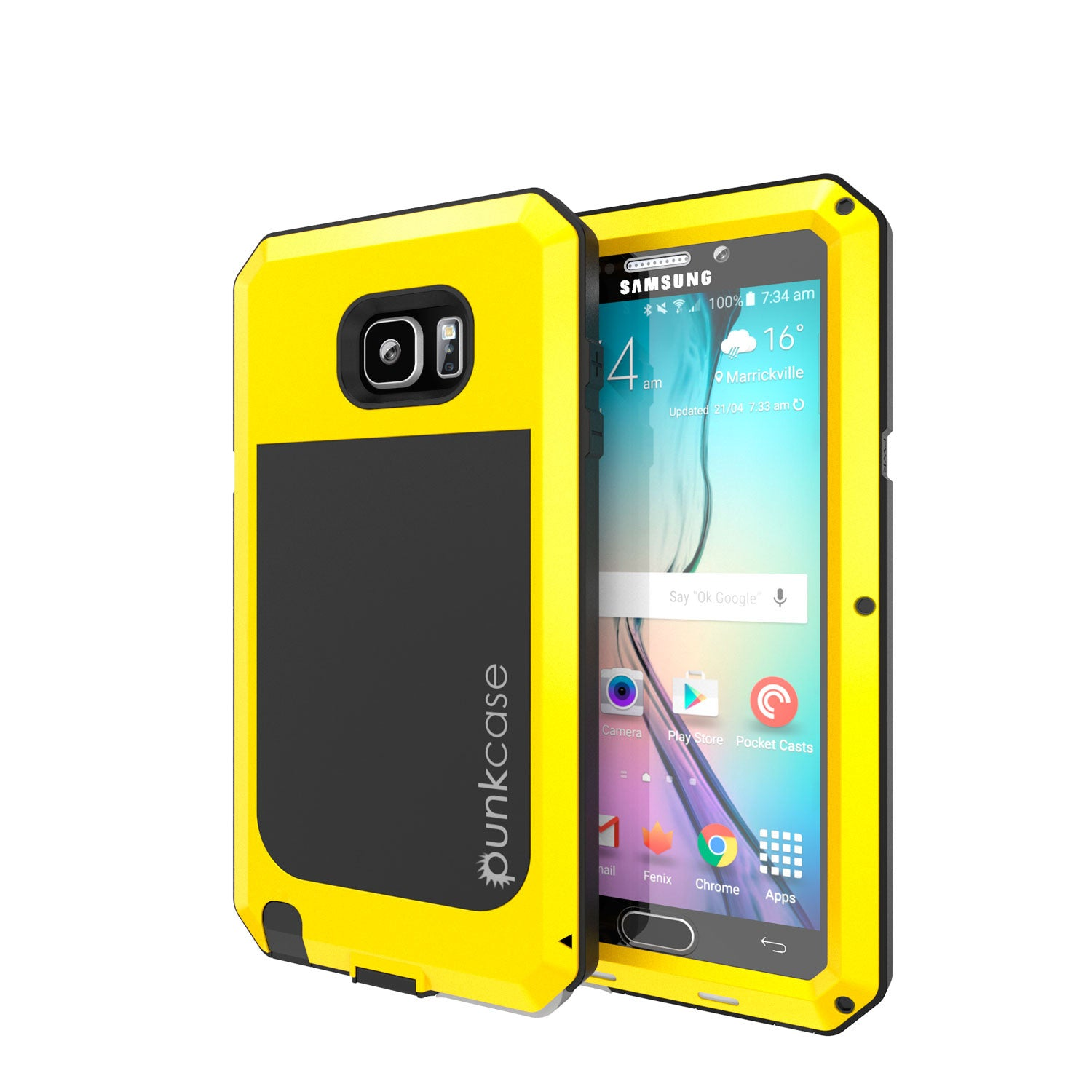 Note 5 Case, Punkcase® METALLIC Series NEON w/ TEMPERED GLASS | Aluminum Frame