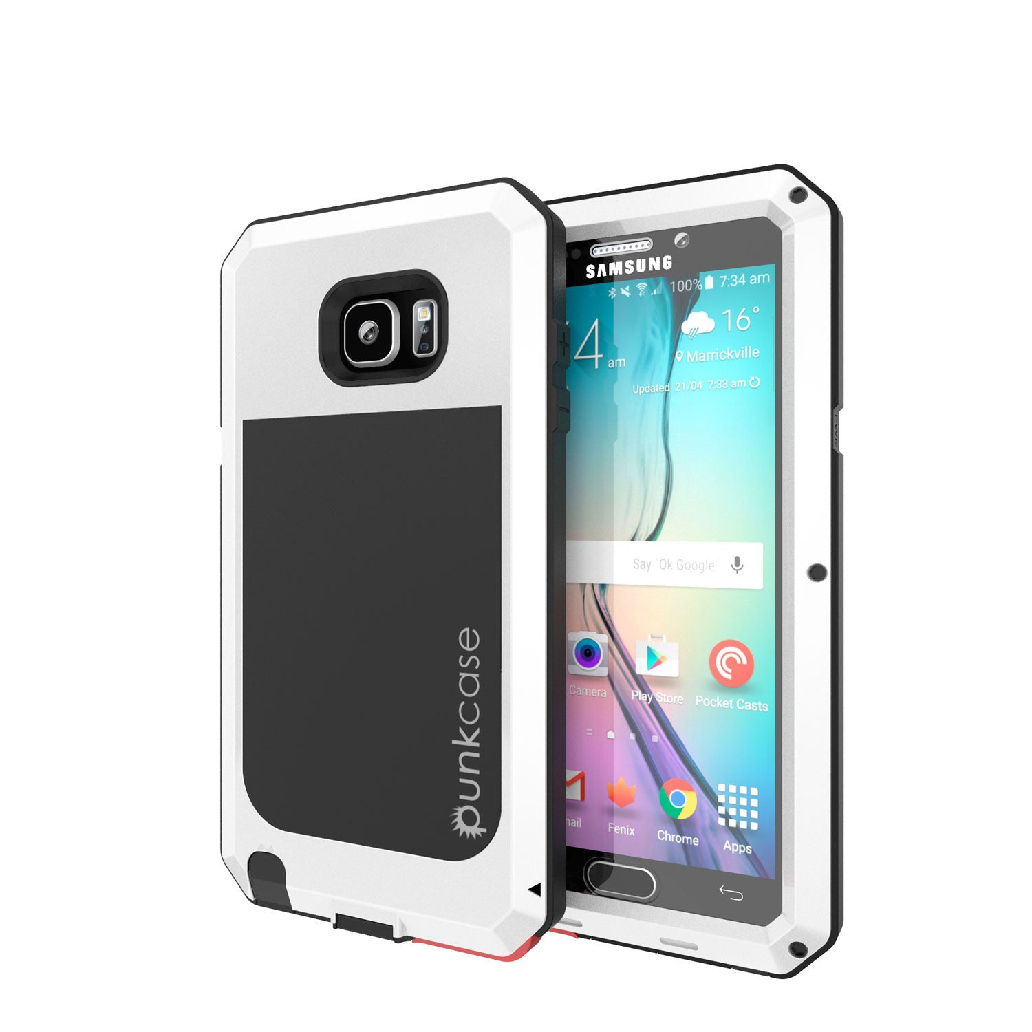 S7 Case, Punkcase® METALLIC Series WHITE for Samsung Galaxy S7 W/ TEMPERED GLASS | Aluminum Frame