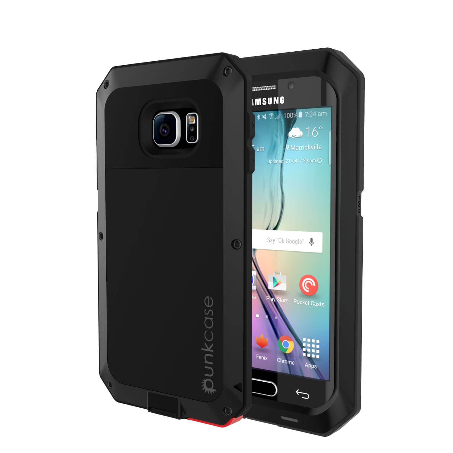 check out 3919f d1cb8 Galaxy S6 EDGE Case, PUNKcase Metallic Black Shockproof Slim Metal Armor  Case