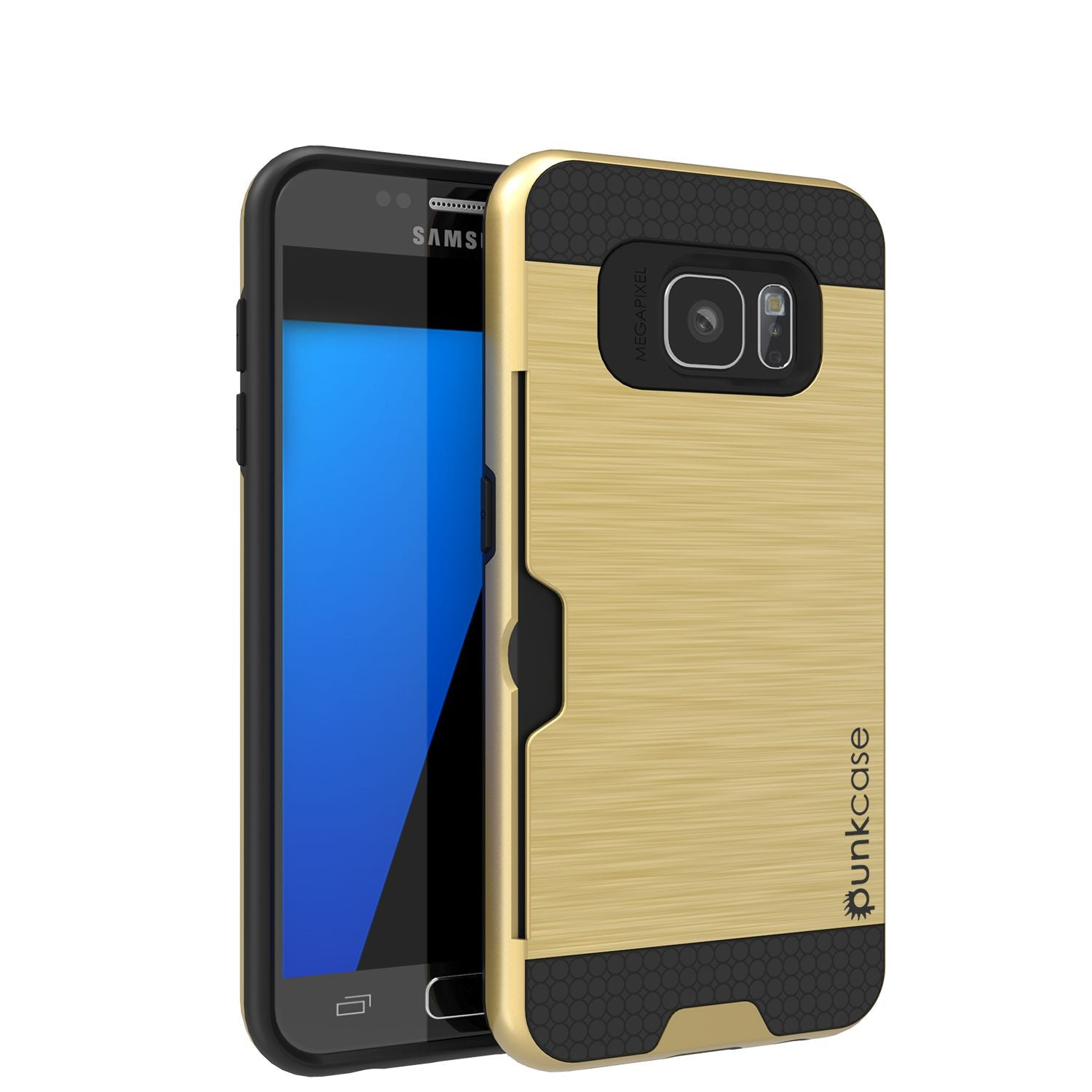 Galaxy s7 Case PunkCase SLOT Gold Series Slim Armor Soft Cover Case w/ Tempered Glass