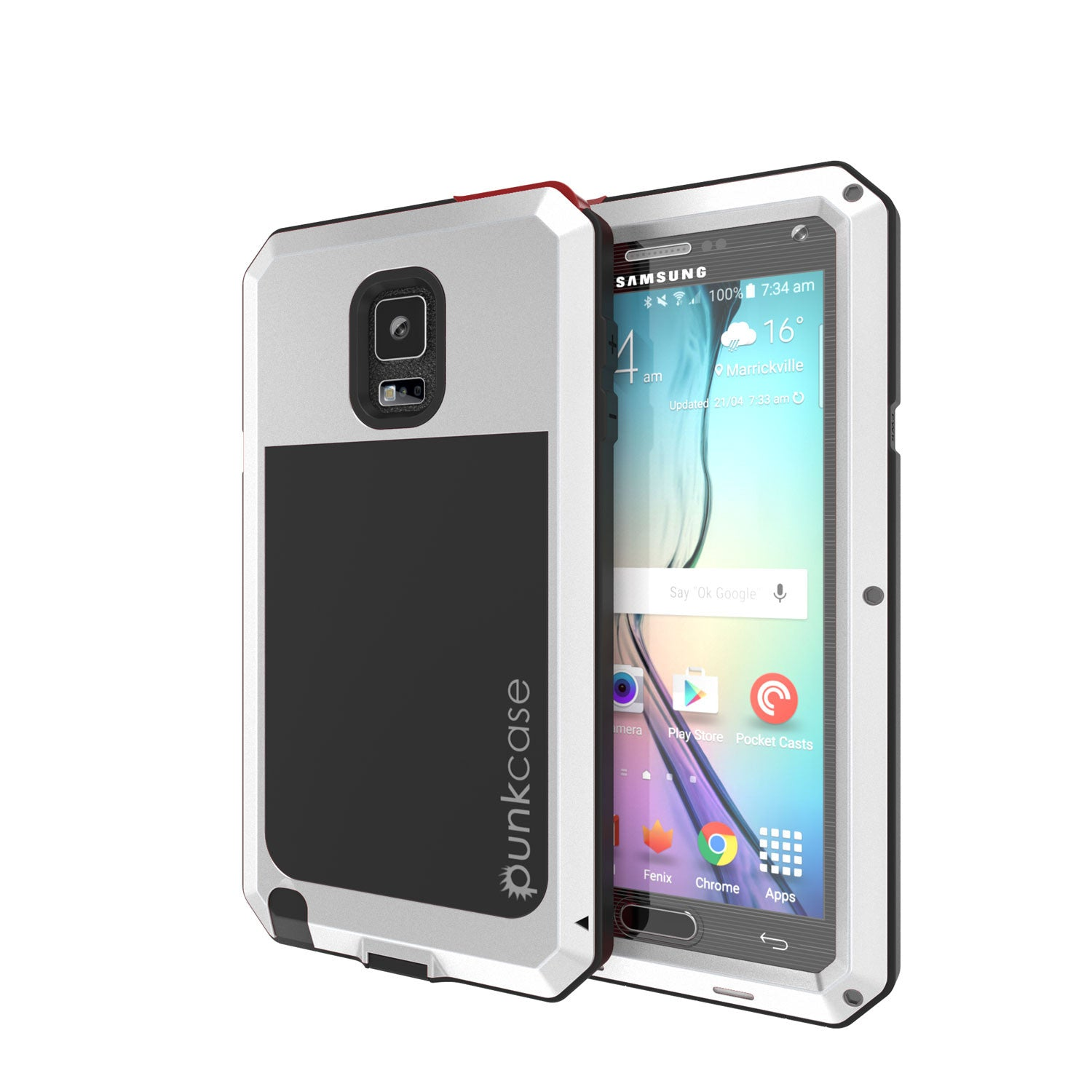 Note 4 Case, Punkcase® METALLIC Series SILVER w/ TEMPERED GLASS | Aluminum Frame