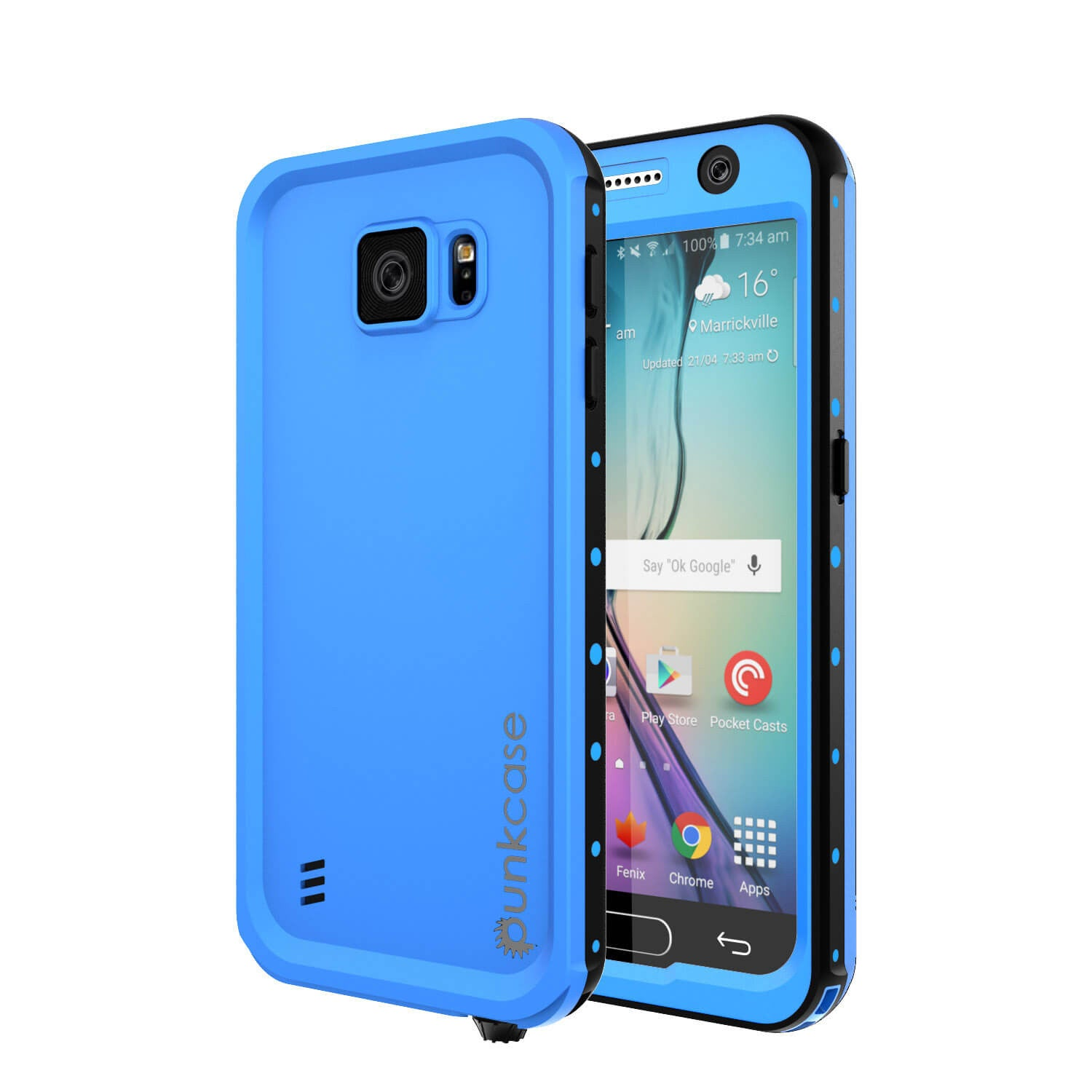 Galaxy S6 Waterproof Case PunkCase StudStar Light Blue Thin 6.6ft Underwater IP68 Shock/Dirt Proof