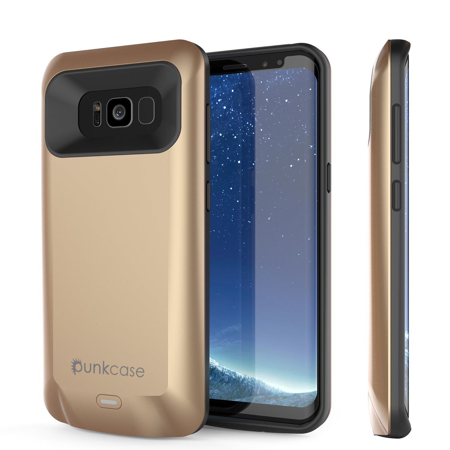 Galaxy S8 Battery Case, Punkcase 5000mAH Charger Case W/ Screen Protector | Integrated Kickstand & USB Port | IntelSwitch | [Gold]