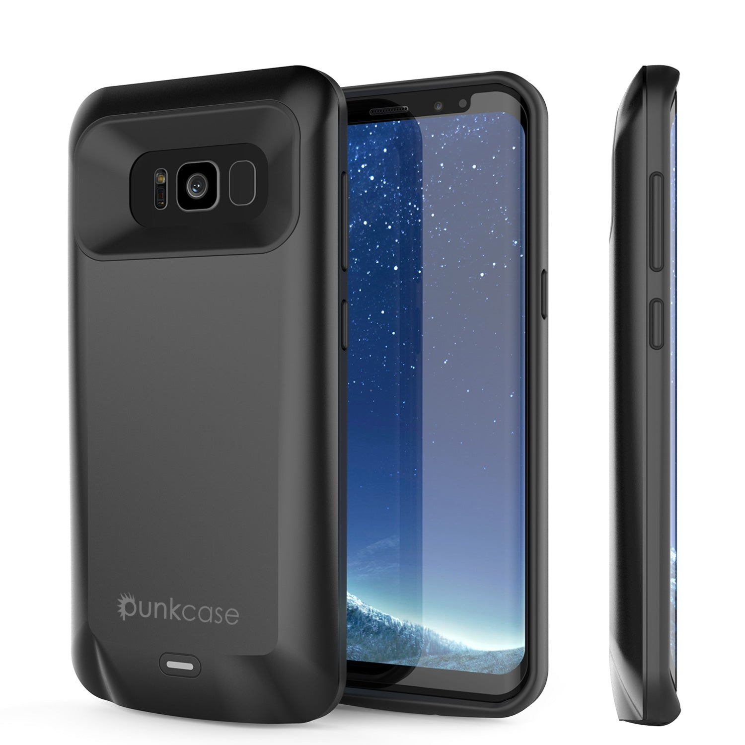 Galaxy S8 PLUS Battery Case, Punkcase 5500mAH Charger Case W/ Screen Protector | Integrated Kickstand & USB Port | IntelSwitch [Black]