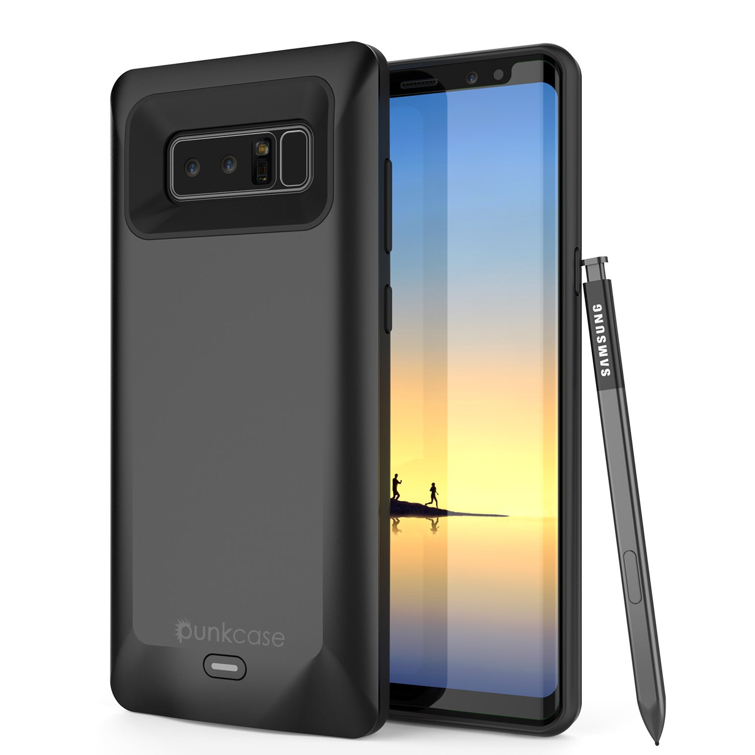 Galaxy Note 8 Battery Case, Punkcase 5000mAH Charger Case W/ Screen Protector | Integrated Kickstand & USB Port | IntelSwitch [Black]
