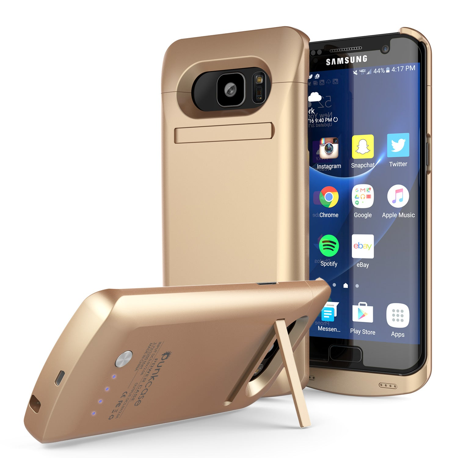 new arrivals 9abaa df4ee Galaxy S7 EDGE Battery Case, Punkcase 5200mAH Charger Case W/ Screen  Protector | Integrated Kickstand & USB Port | IntelSwitch [Gold]