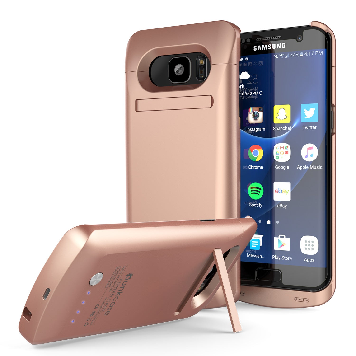 Galaxy S7 EDGE Battery Case, Punkcase 5200mAH Charger Case W/ Screen Protector | Integrated Kickstand & USB Port | IntelSwitch [Rose Gold]