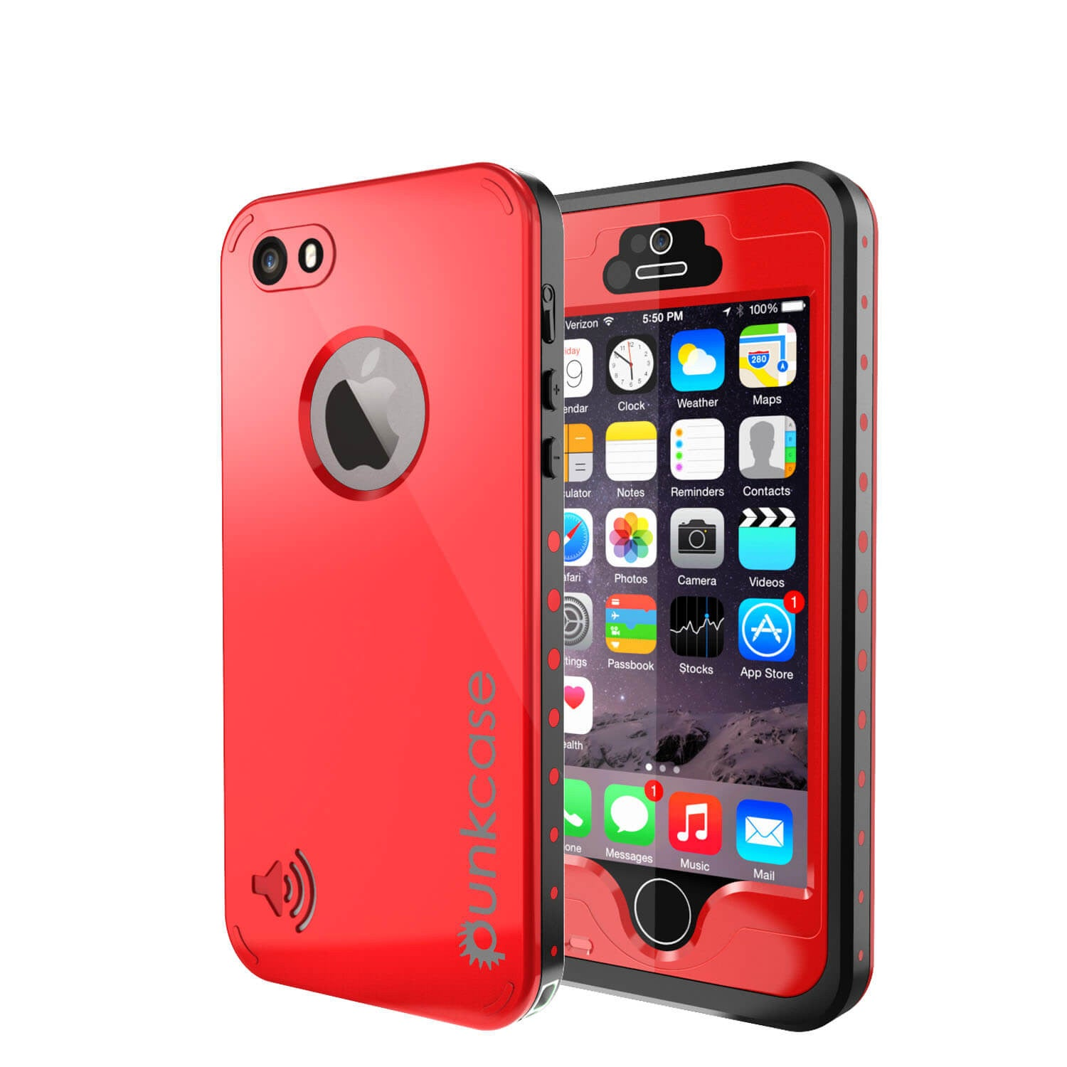 iPhone 5S/5 Waterproof Case, PunkCase StudStar Red Case Water/Shock/Dirt Proof | Lifetime Warranty