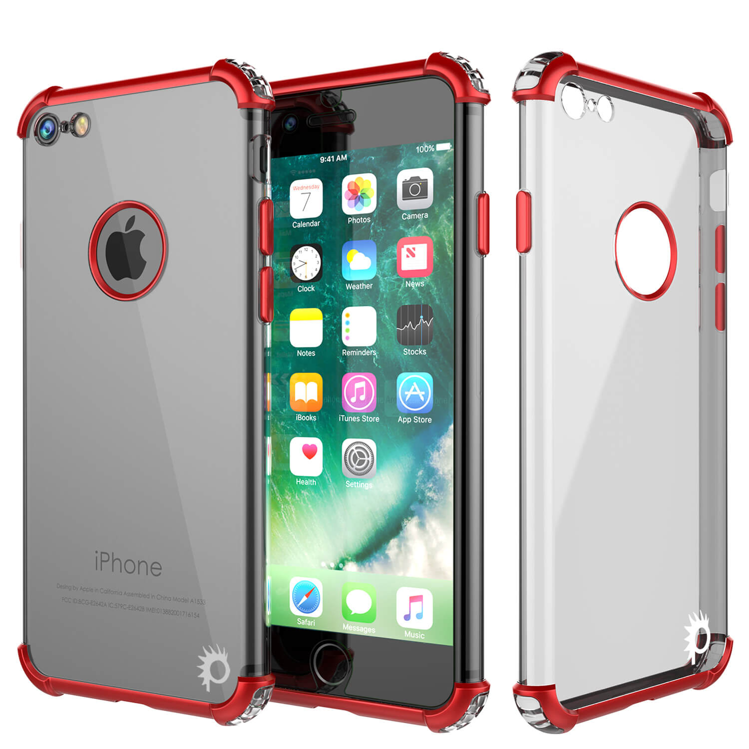 iPhone 7 Case, Punkcase [BLAZE Red SERIES] Protective Cover W/ PunkShield Screen Protector