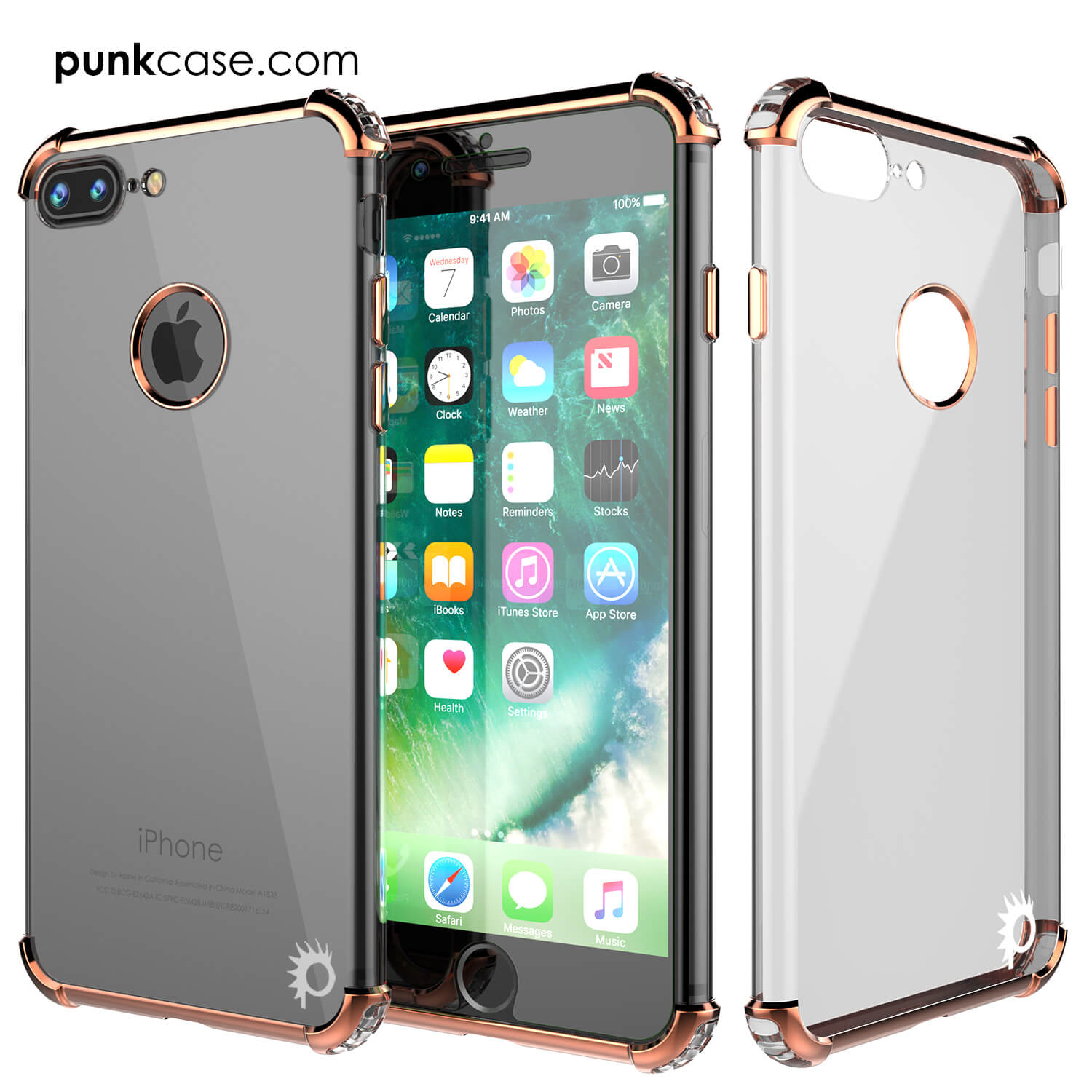 iPhone 7 PLUS Case, Punkcase [BLAZE RoseGold SERIES] Protective Cover W/ PunkShield Screen Protector