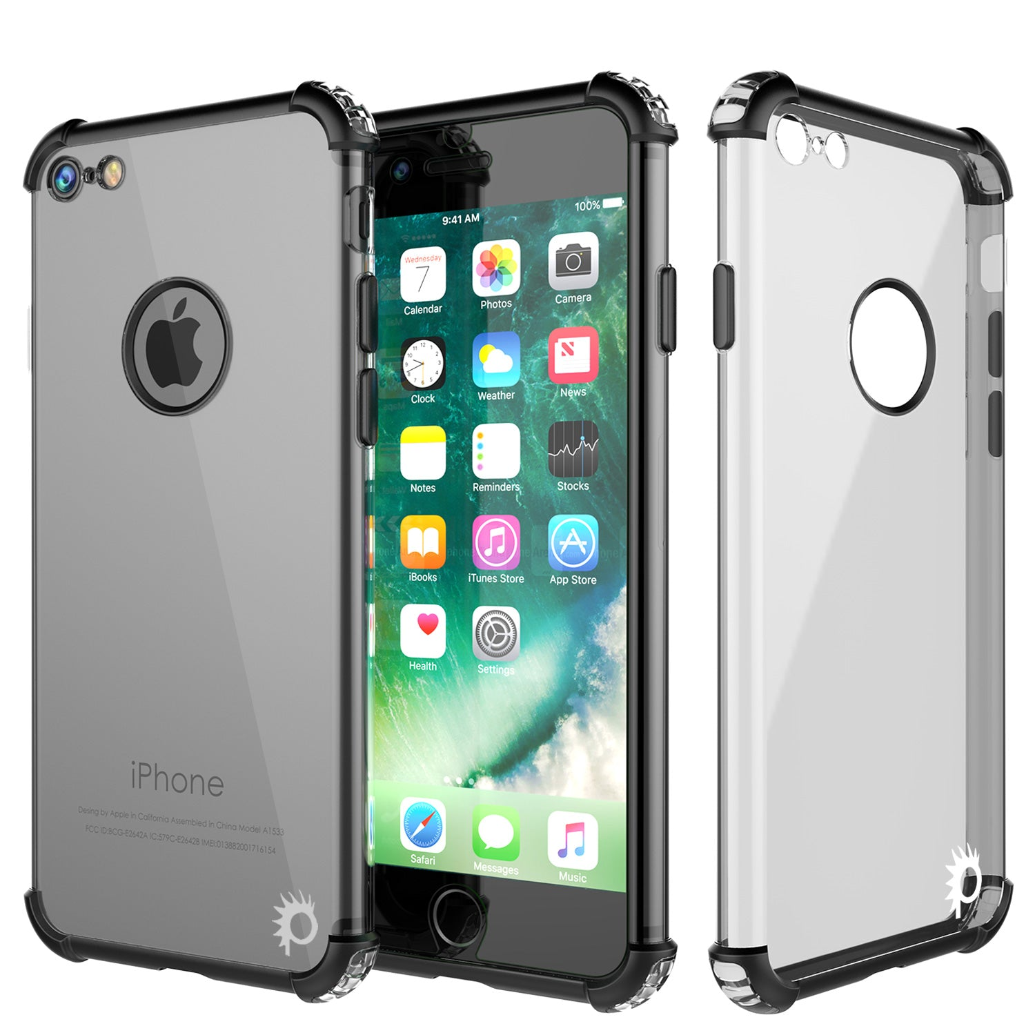 iPhone 7 Case, Punkcase [BLAZE Black SERIES] Protective Cover W/ PunkShield Screen Protector [Shockproof] [Slim Fit] for Apple iPhone