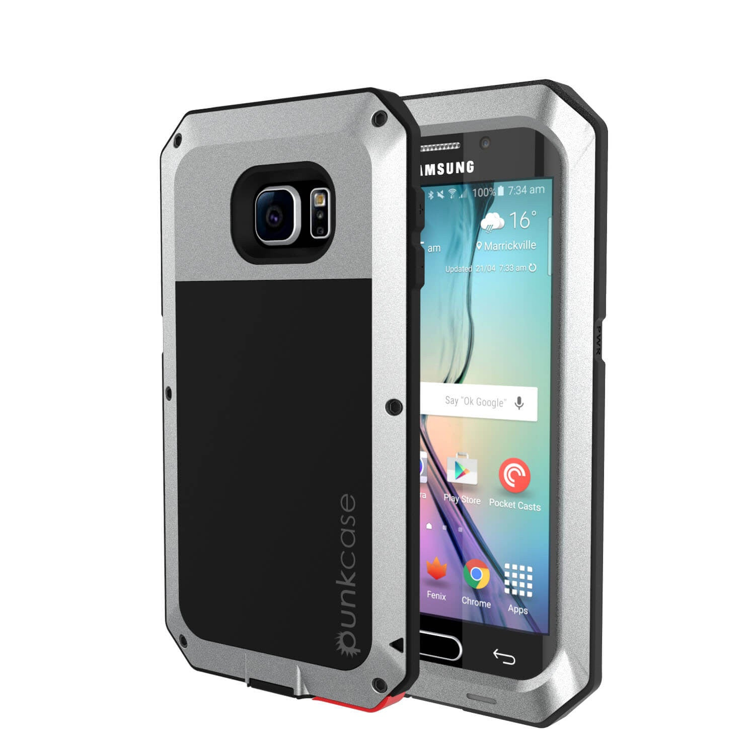 Galaxy S6 EDGE  Case, PUNKcase Metallic Silver Shockproof  Slim Metal Armor Case