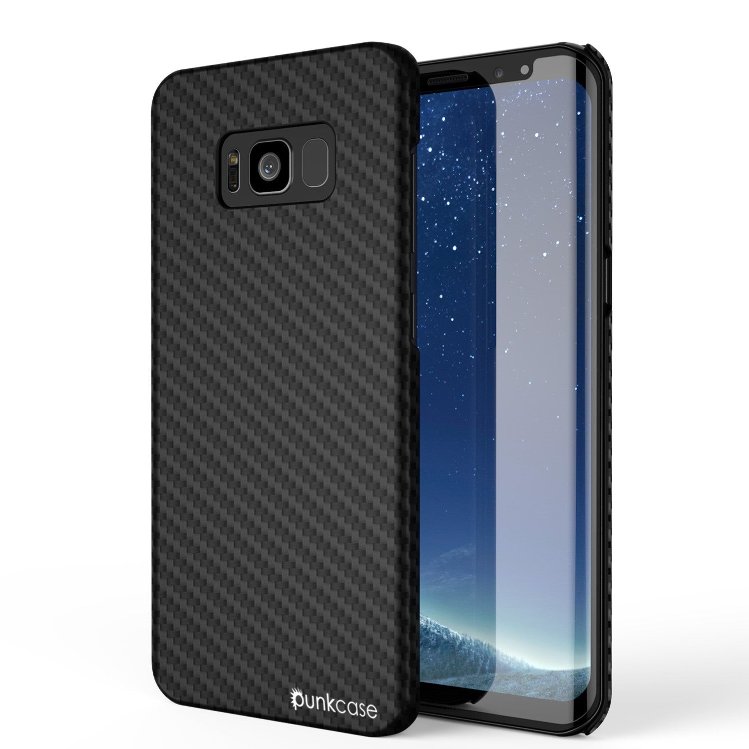 Galaxy S8 Plus Case, PunkCase CarbonShield, Jet Black