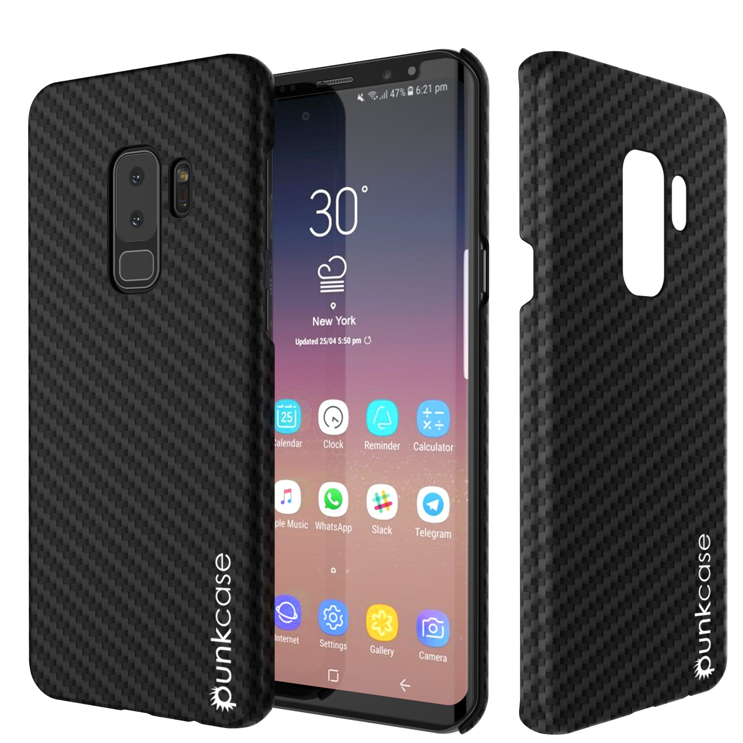 Galaxy S9 Plus Case, Punkcase CarbonShield, Heavy Duty & Ultra Thin 2 Piece Dual Layer PU Leather Jet Black Cover
