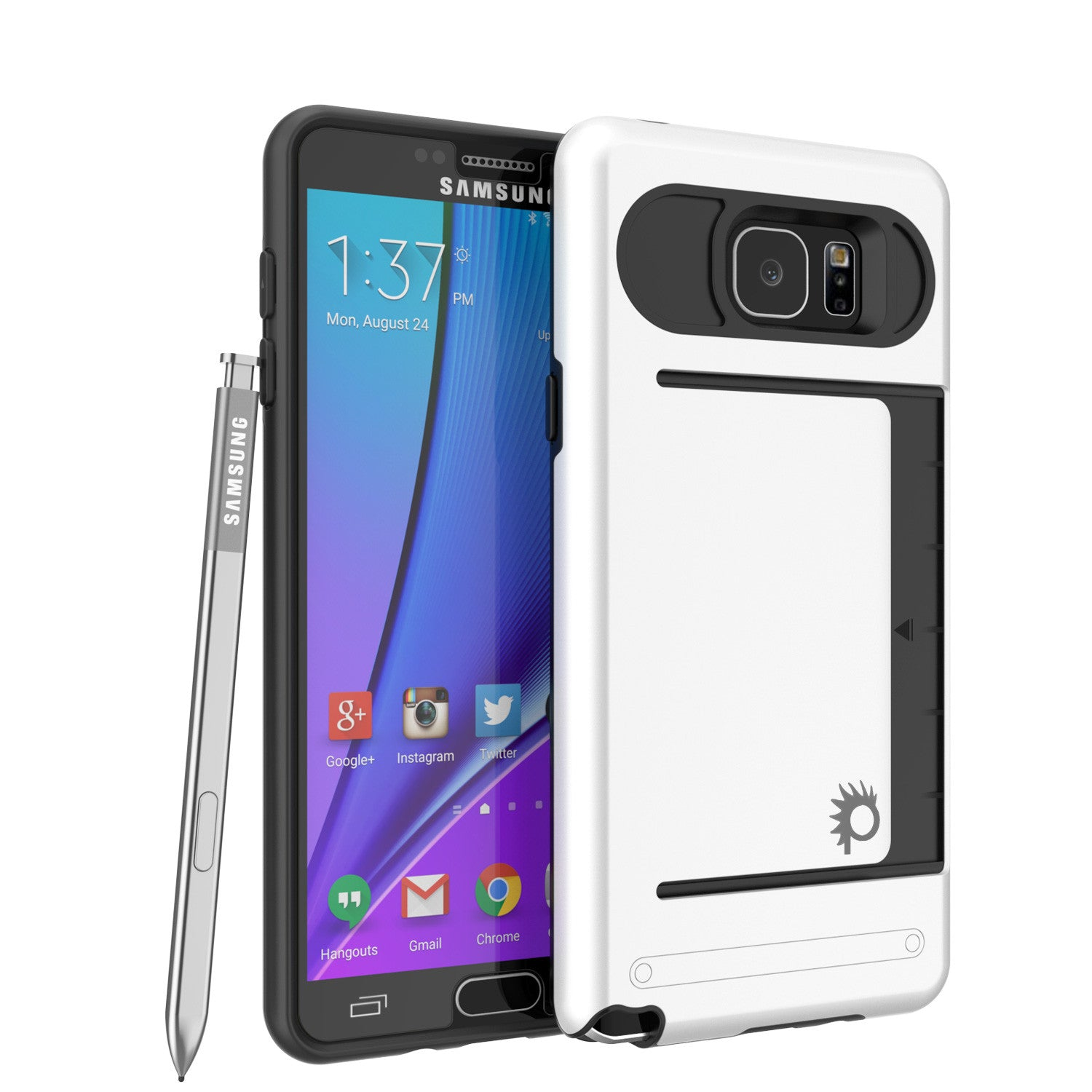 Galaxy Note 5 Case PunkCase CLUTCH White Series Slim Armor Soft Cover Case w/ Tempered Glass