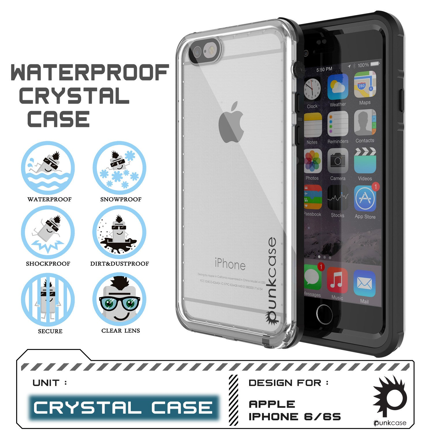 iPhone 6/6S Waterproof Case, PUNKcase CRYSTAL Black W/ Attached Screen Protector  | Warranty