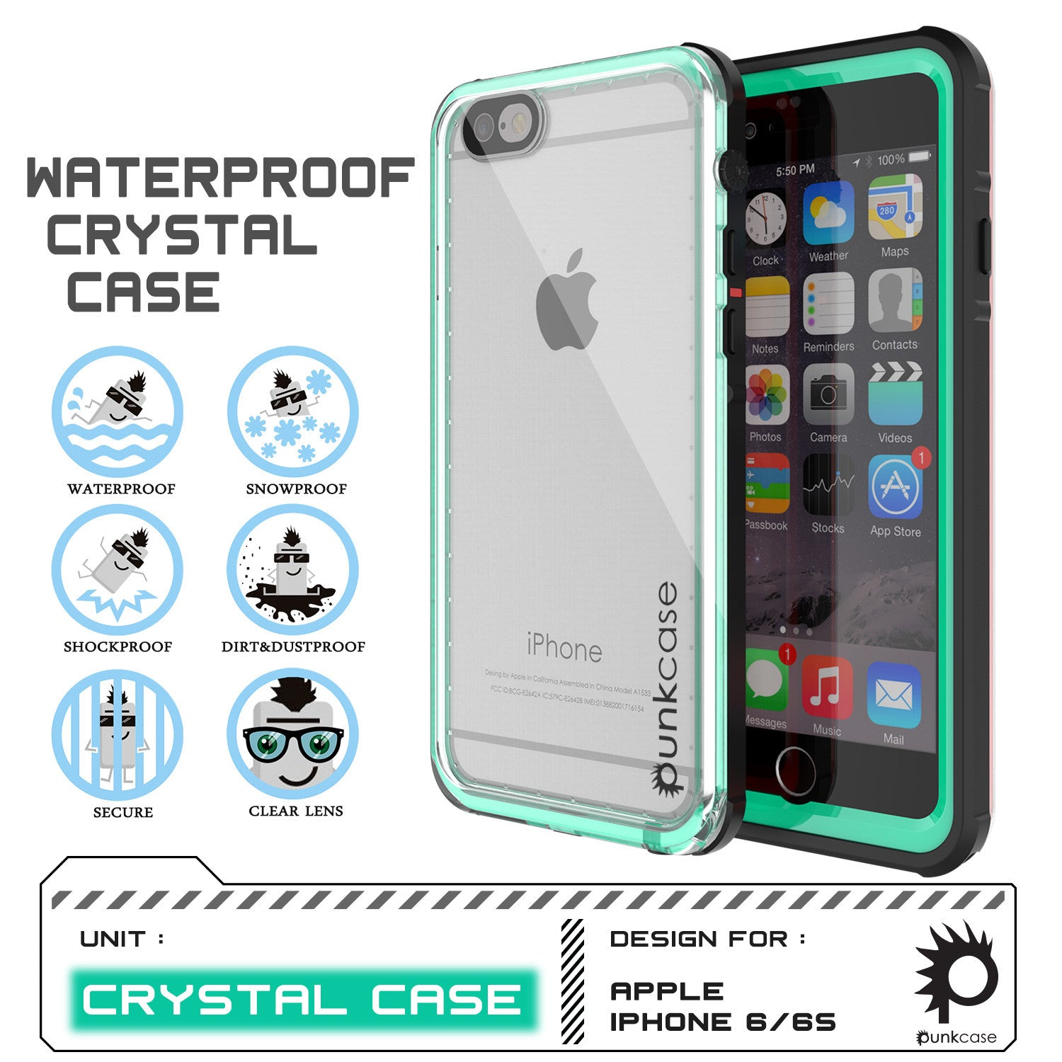 iPhone 6/6S Waterproof Case, PUNKcase CRYSTAL Teal W/ Attached Screen Protector  | Warranty