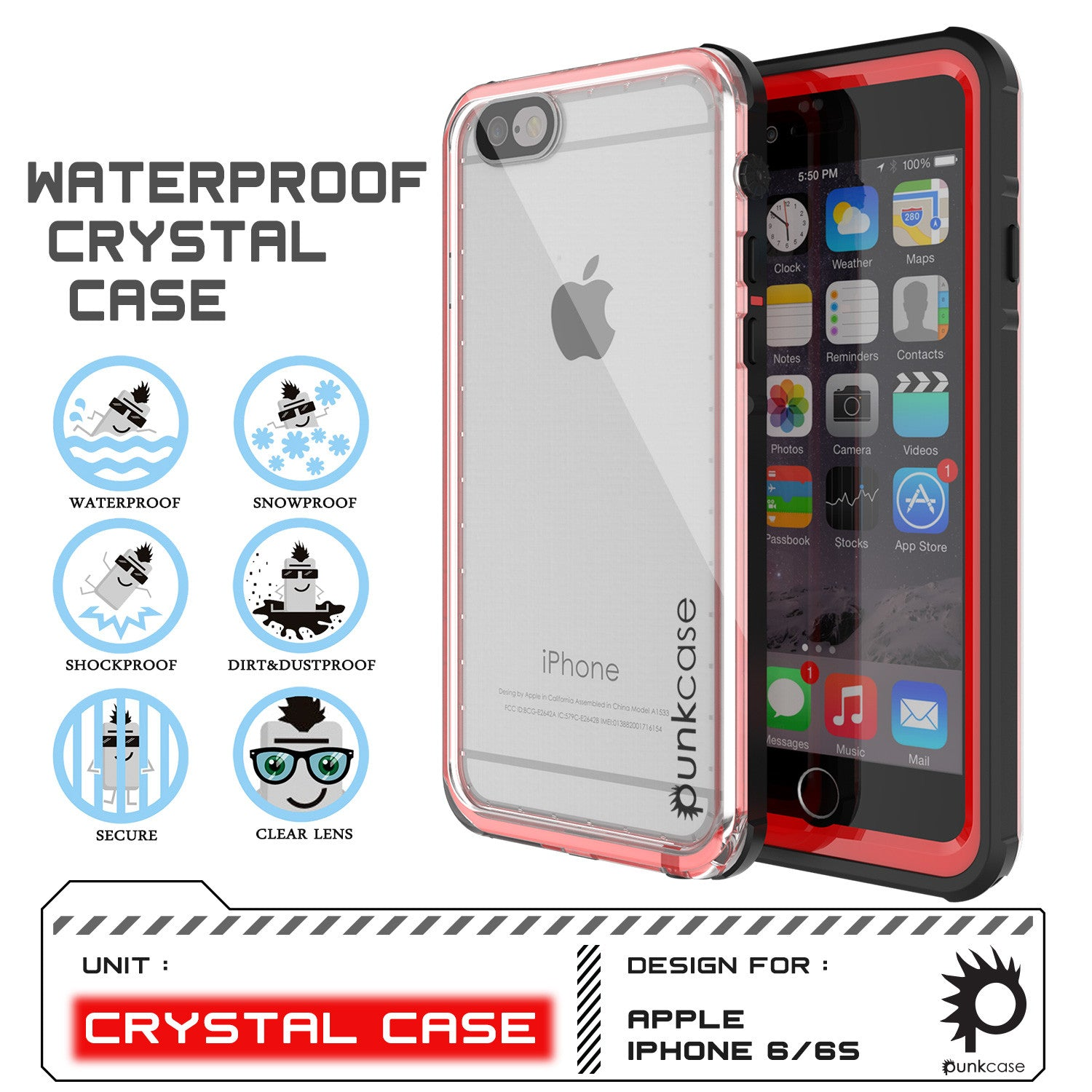 iPhone 6/6S Waterproof Case, PUNKcase CRYSTAL Red W/ Attached Screen Protector  | Warranty