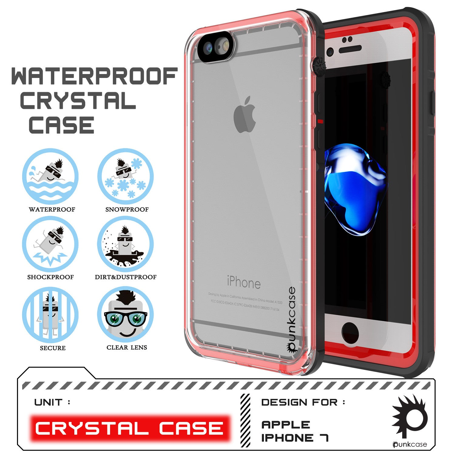 Apple iPhone 7 Waterproof Case, PUNKcase CRYSTAL Red W/ Attached Screen Protector  | Warranty