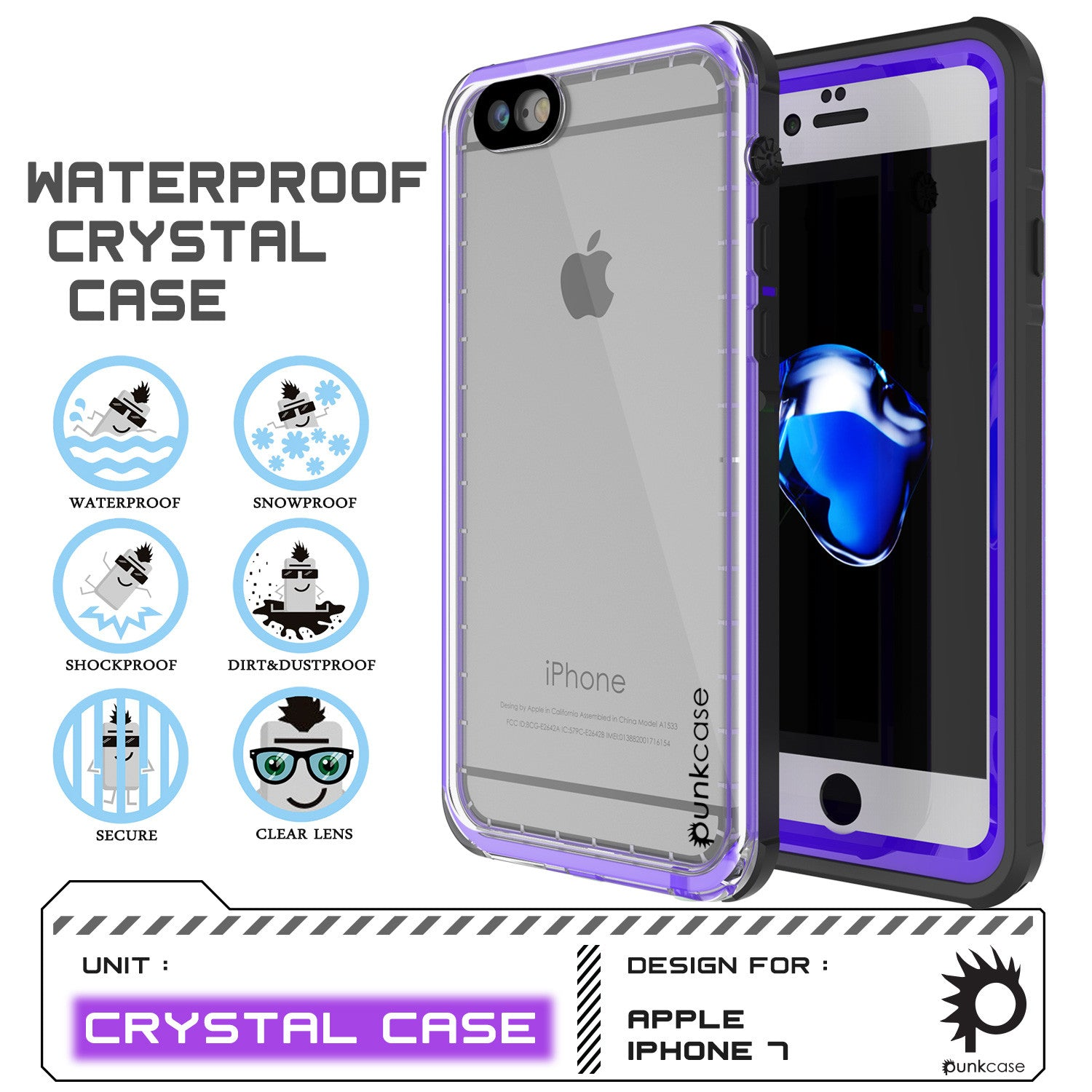 Apple iPhone 7 Waterproof Case, PUNKcase CRYSTAL Purple W/ Attached Screen Protector  | Warranty