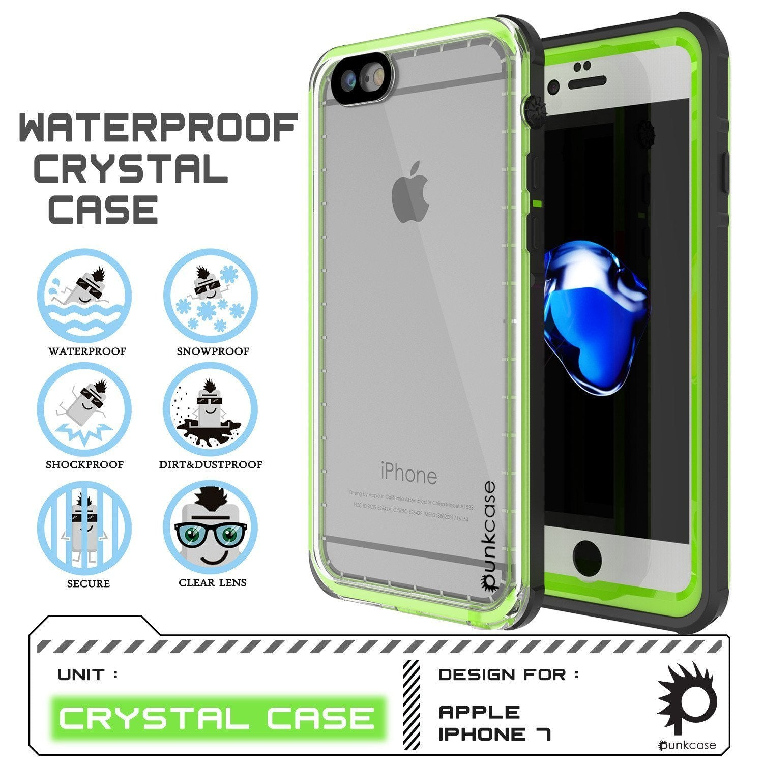 "Apple iPhone SE (4.7"") Waterproof Case, PUNKcase CRYSTAL Light Green  W/ Attached Screen Protector  