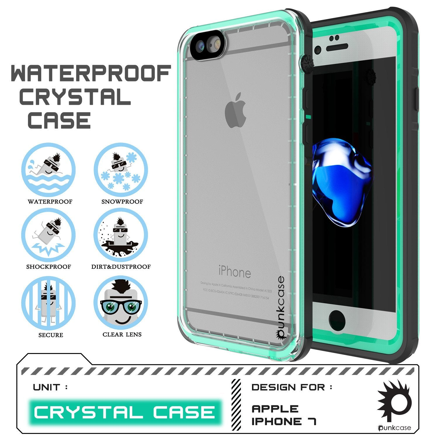 Apple iPhone 8 Waterproof Case, PUNKcase CRYSTAL Teal W/ Attached Screen Protector  | Warranty