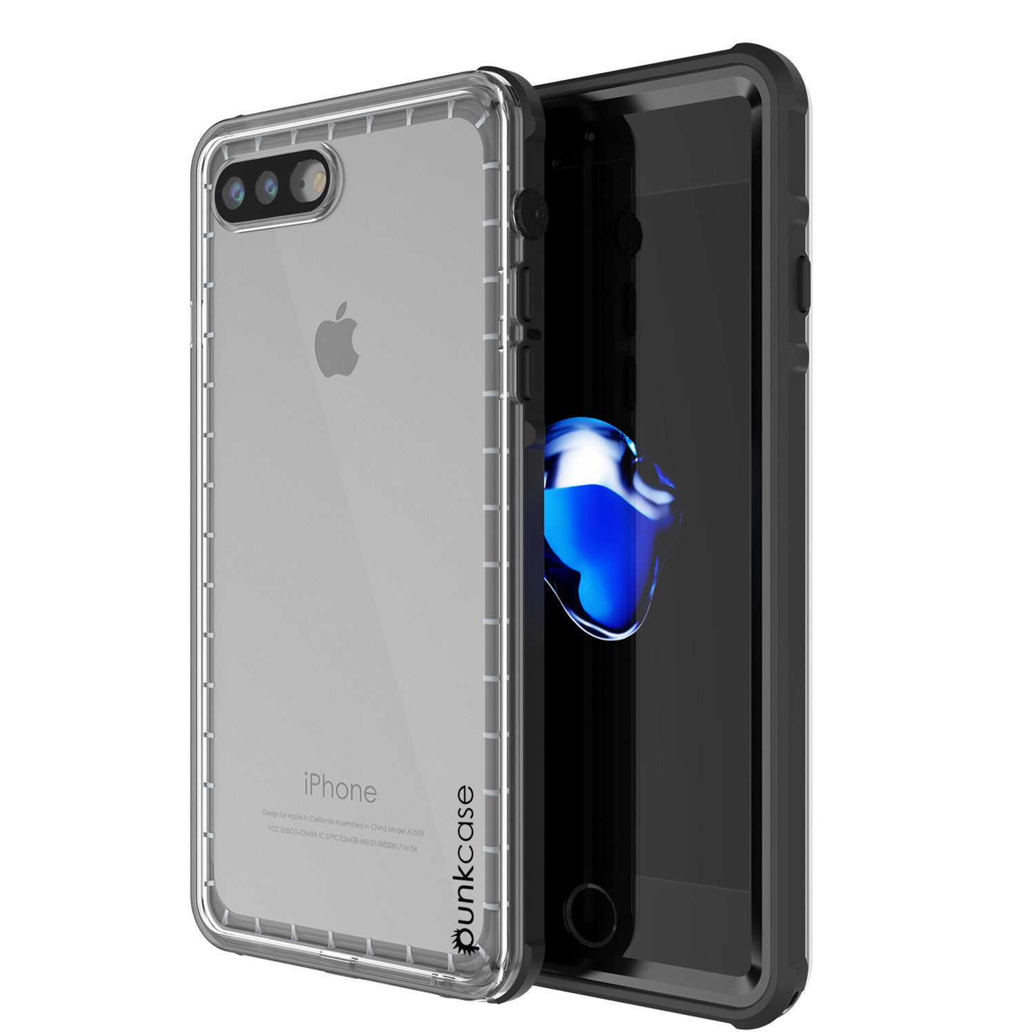 iPhone 7+ Plus Waterproof Case, PUNKcase CRYSTAL Black W/ Attached Screen Protector  | Warranty