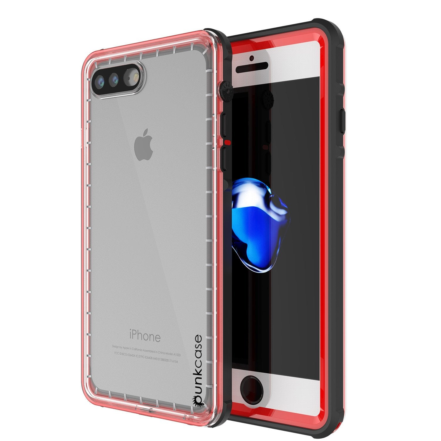 buy online 6e454 ad459 iPhone 8+ Plus Waterproof Case, PUNKcase CRYSTAL Red W/ Attached Screen  Protector | Warranty