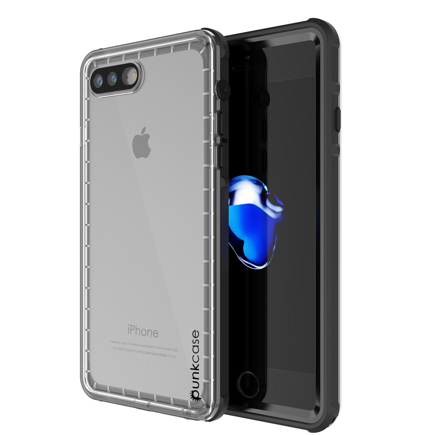 on sale 88d99 e71b5 iPhone 8+ Plus Waterproof Case, PUNKcase CRYSTAL Black W/ Attached Screen  Protector | Warranty