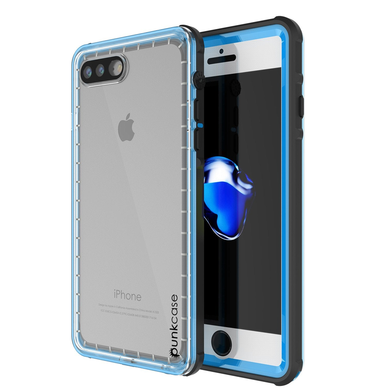 iPhone 8+ Plus Waterproof Case, PUNKcase CRYSTAL Light Blue  W/ Attached Screen Protector  | Warranty