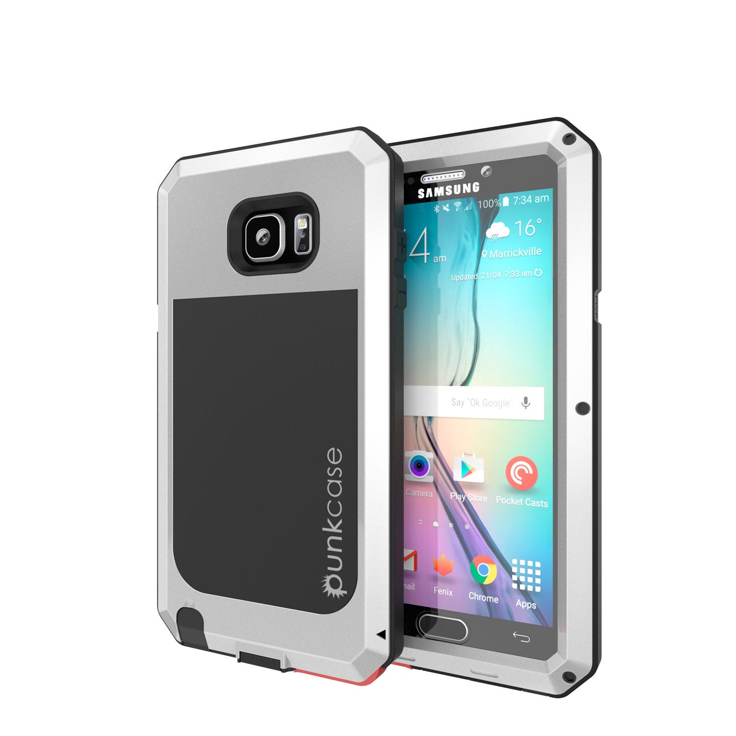 S7 Case, Punkcase® METALLIC Series SILVER for Samsung Galaxy S7 W/ TEMPERED GLASS | Aluminum Frame