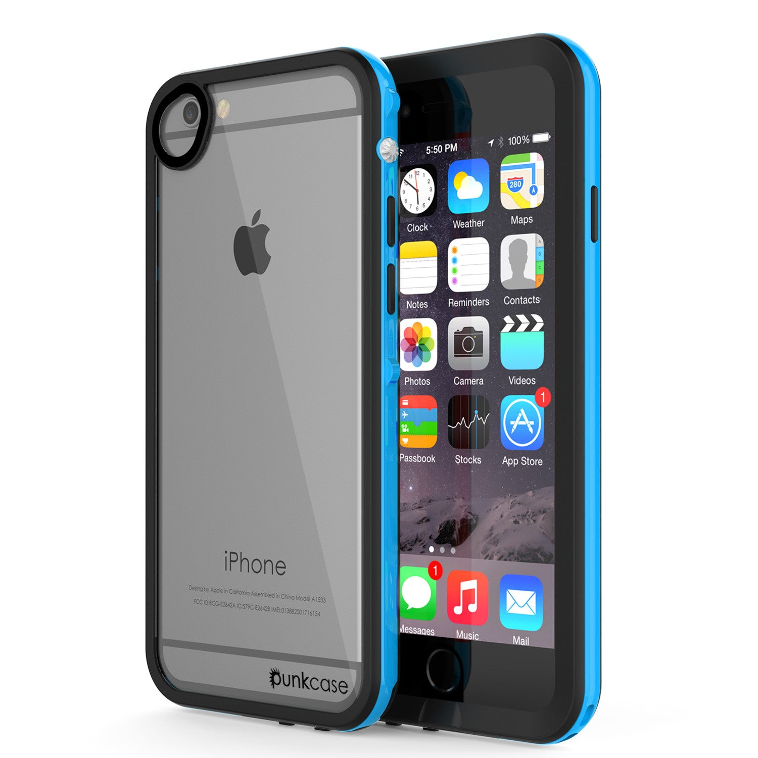 Apple iPhone 7 Waterproof Case, PUNKcase CRYSTAL 2.0 Light Blue  W/ Attached Screen Protector  | Warranty