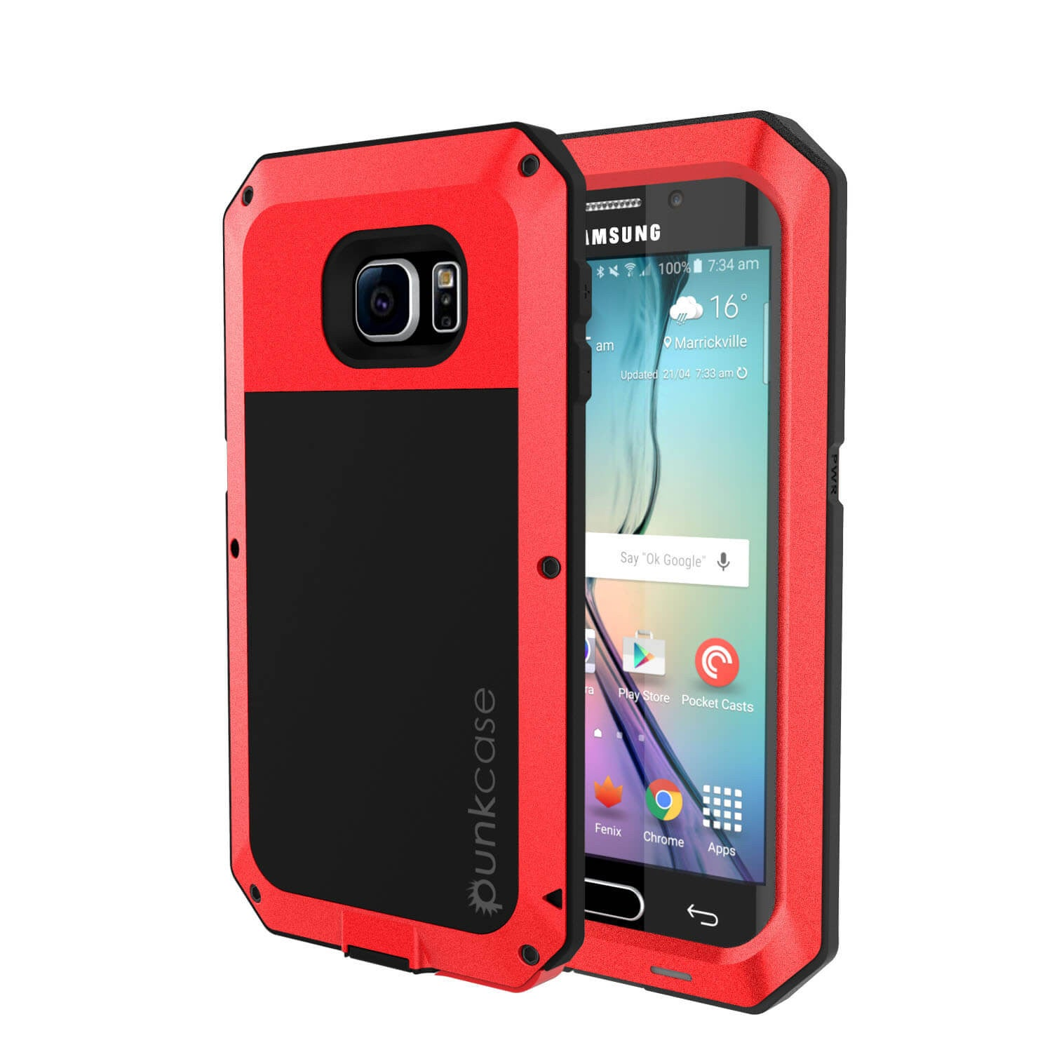 Galaxy S6 EDGE+ Plus  Case, PUNKcase Metallic Red Shockproof  Slim Metal Armor Case