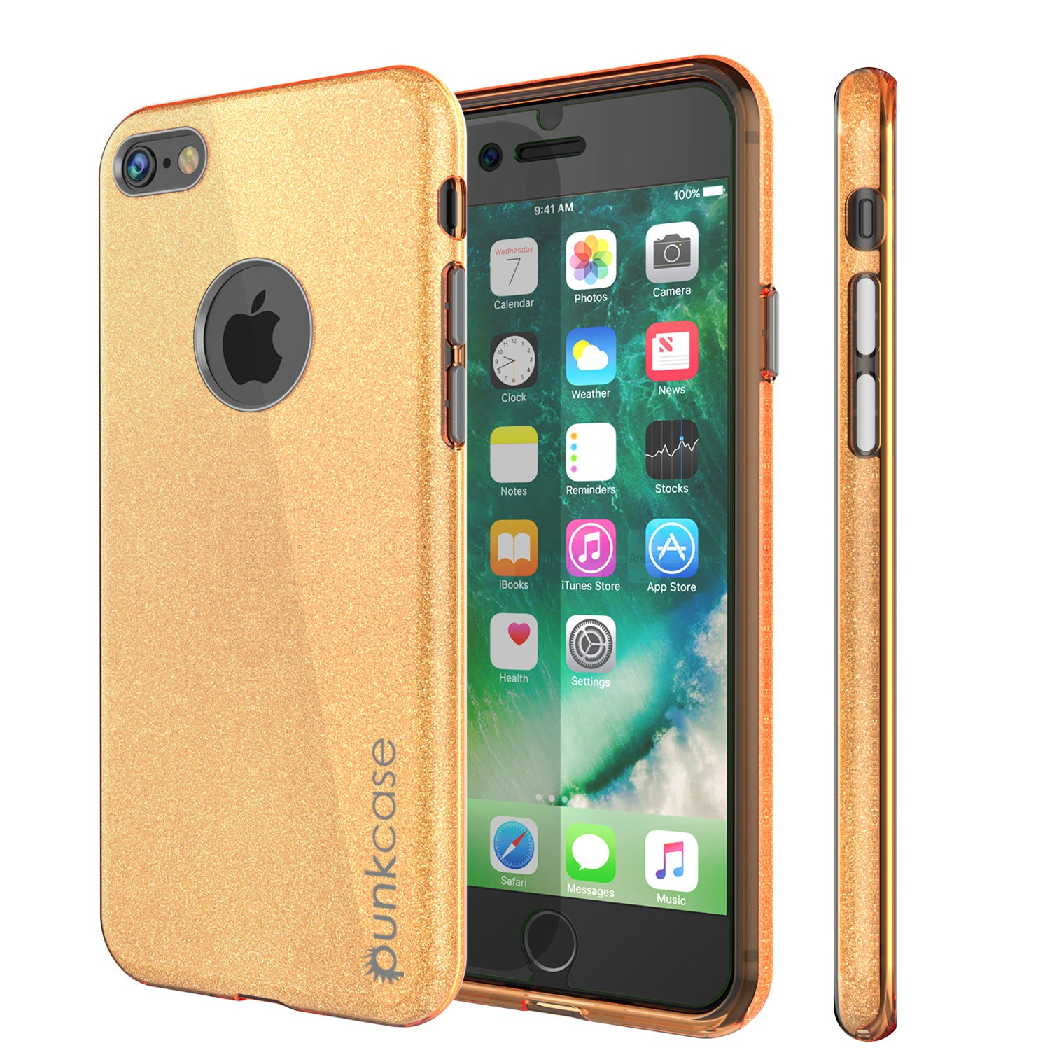 iPhone 8 Case, Punkcase Galactic 2.0 Series Ultra Slim Protective Armor TPU Cover [Gold]