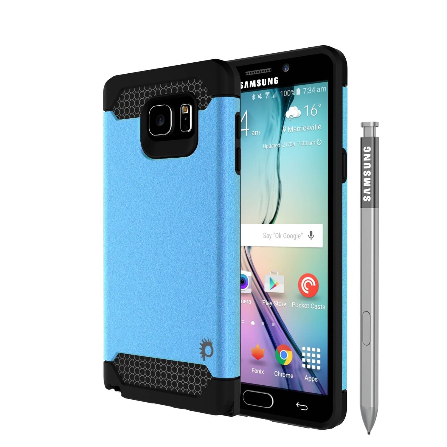 Galaxy Note 5 Case PunkCase Galactic Teal Series Slim Armor Soft Cover Case w/ Tempered Glass