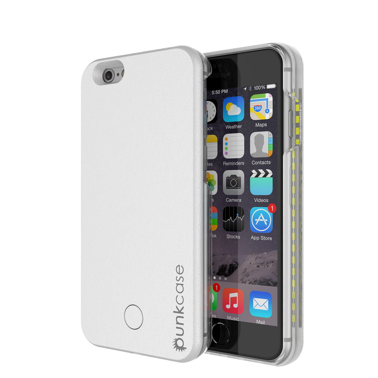iPhone 6/6S Punkcase LED Light Case Light Illuminated Case, WHITE W/  Battery Power Bank