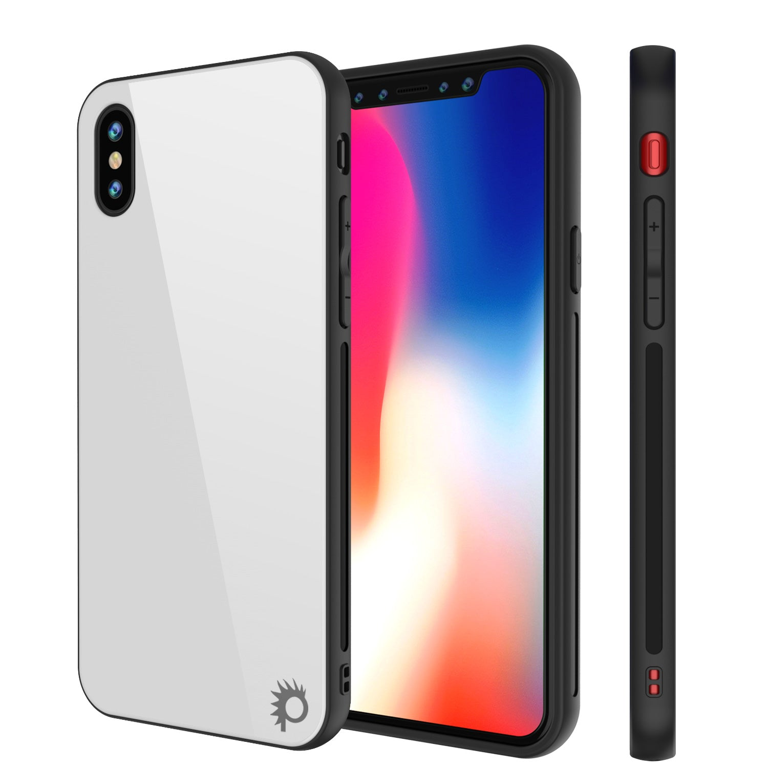 iPhone X Case, Punkcase GlassShield Ultra Thin Protective 9H Full Body Tempered Glass Cover White
