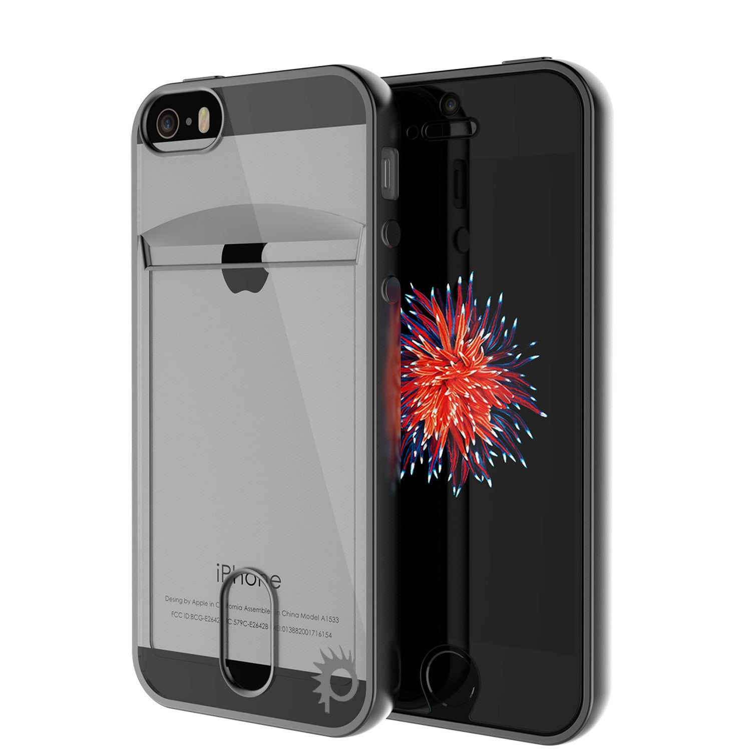 iPhone SE/5S/5 Case, PUNKCASE® LUCID Black Series | Card Slot | SHIELD Screen Protector | Ultra fit