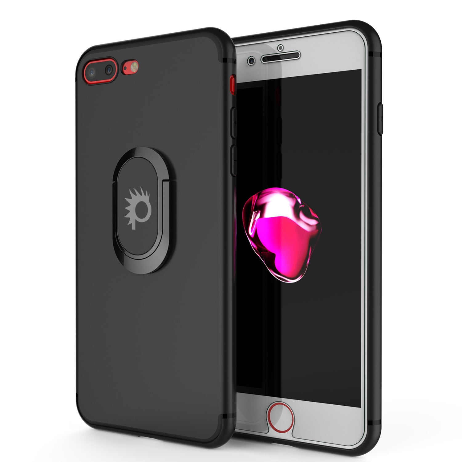 iPhone 8 PLUS Case, Punkcase Magnetix Protective TPU Cover W/ Kickstand, Tempered Glass Screen Protector [Black]